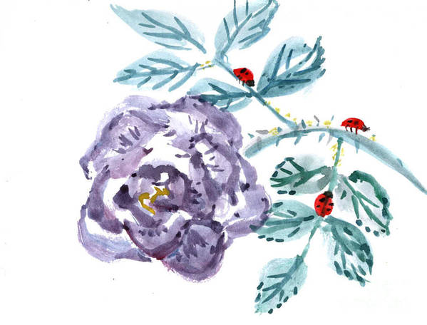 Body-spirit Art Print featuring the painting Ladybugs Lunch Date by Ellen Miffitt