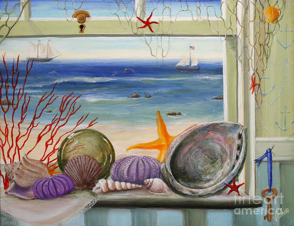 Ocean Art Print featuring the painting Sea Cottage by Stella Violano