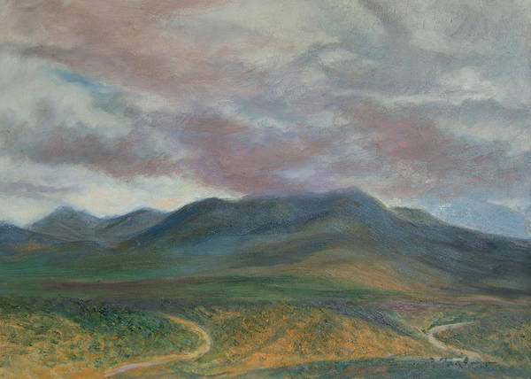 Landscape Art Print featuring the painting Storm Clouds Over the Ortiz Mountains by Phyllis Tarlow
