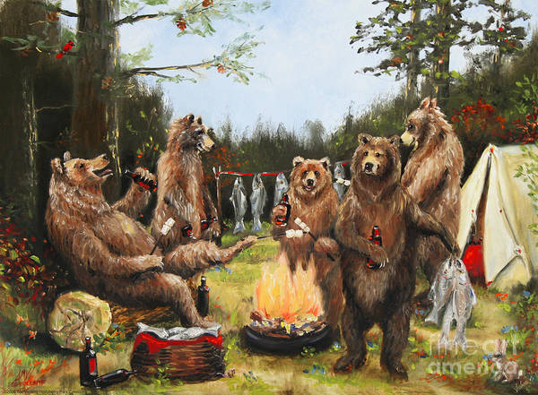 Nature Art Print featuring the painting The Bear Party by Stella Violano