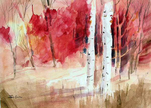 Autumn Landscape Art Print featuring the painting Two Sticks. by Josh Chilton