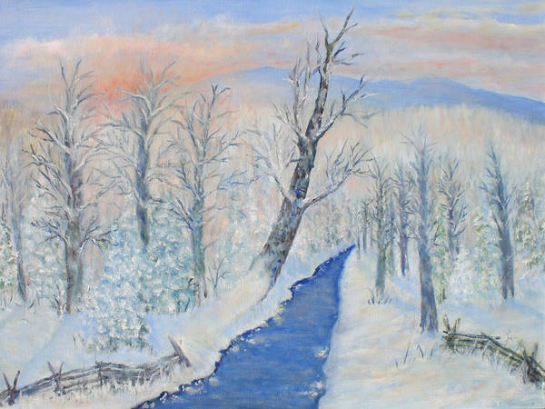 Winter Art Print featuring the painting Winter Sunrise by Ben Kiger