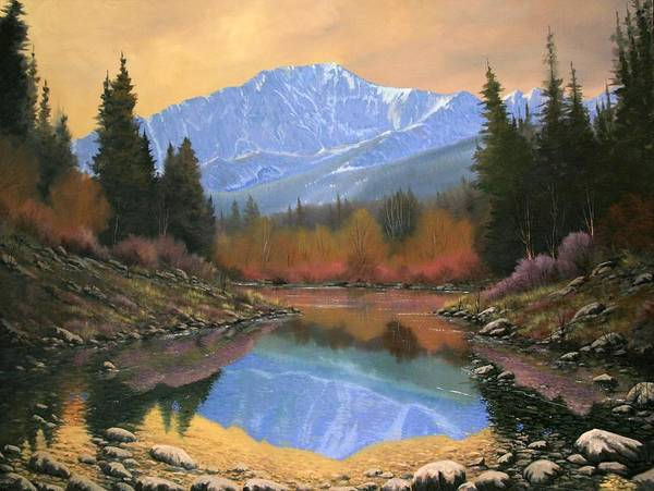 Landscape Art Print featuring the painting 080220-4030 In All Its Glory - Pikes Peak by Kenneth Shanika