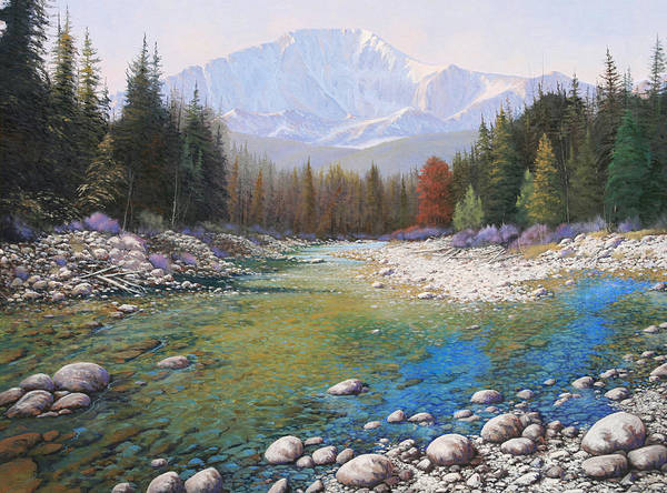 Landscape Art Print featuring the painting 080401-4030 Shallow Waters - Pikes Peak by Kenneth Shanika