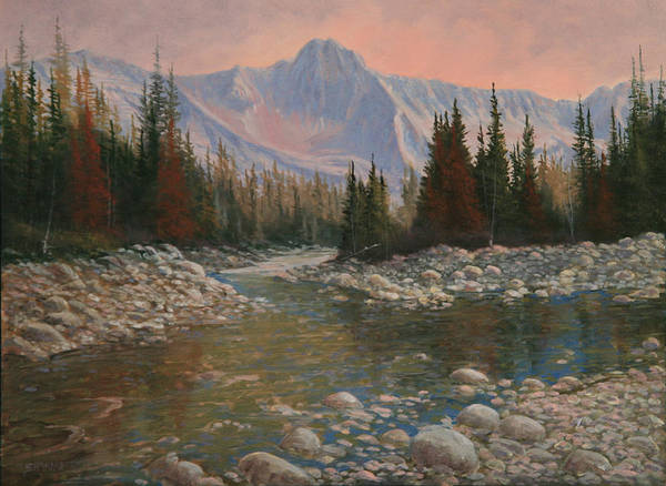 Original Oil Painting Art Print featuring the painting 090504-1216  Rocky Creek by Kenneth Shanika