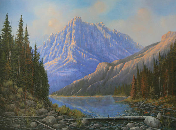 Landscape Art Print featuring the painting 090523-3040  Between Heaven And Earth by Kenneth Shanika
