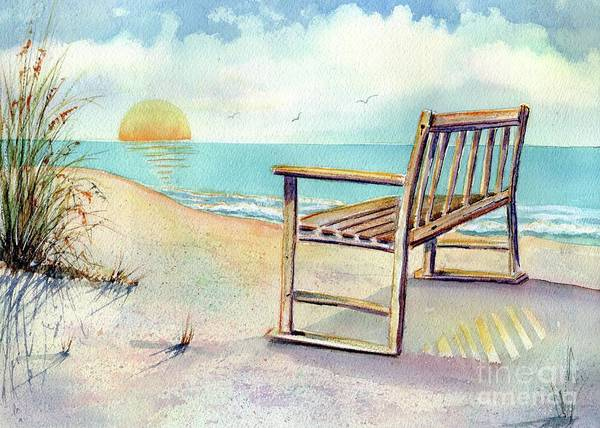 Beach Art Print featuring the painting Beach Bench by Midge Pippel