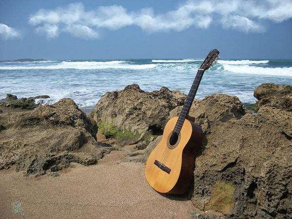 Seascape Art Print featuring the photograph Guitar Seascape by Tony Rodriguez