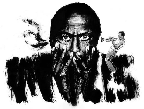 Art Print featuring the drawing Miles Davis by Ken Meyer jr