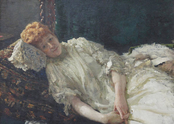 Ilya Repin Portrait Art Print featuring the painting Portrait of the Pianist Louisa Mercy D'argenteau by Ilya Repin