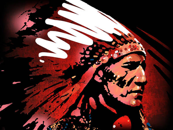 Native American Art Print featuring the painting Red Pipe by Paul Sachtleben