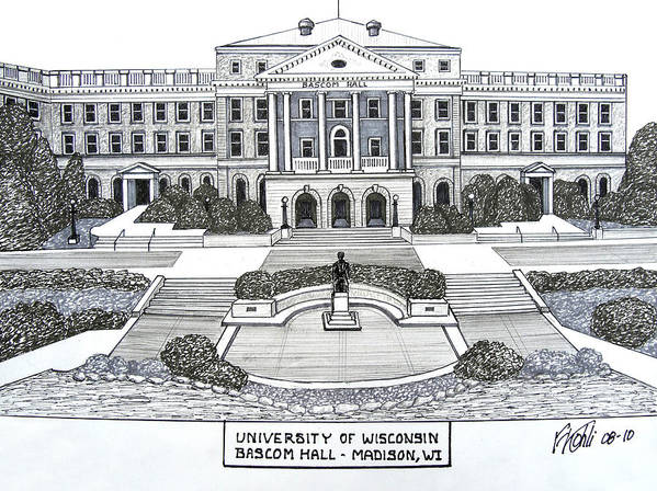 Pen And Ink College Buildings Drawings Art Print featuring the drawing Wisconsin by Frederic Kohli
