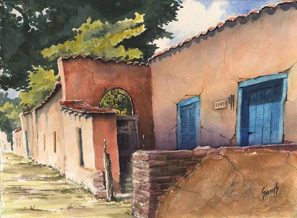 Adobe Art Print featuring the painting 1247 Agua Fria Street by Sam Sidders