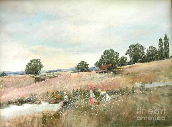 Landscape Painting Art Print featuring the painting Children in field by Nicholas Minniti