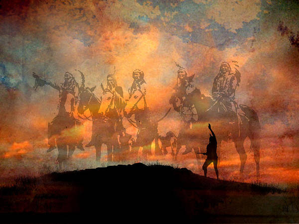 Native Americans Art Print featuring the painting Forefathers by Paul Sachtleben