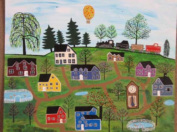 Folk Art Village Art Print featuring the painting A Beautiful Day in Deltalareah Wexla by Mike Filippello