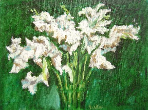 Bunch Art Print featuring the painting A bunch of White Gladioli by Usha Shantharam