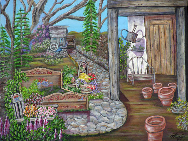 Formal Gardens Art Print featuring the painting A Place to Dream by Mikki Alhart