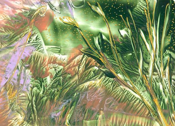 Abstract Encaustic Art Print featuring the painting A Secret Forest by Heather Hennick