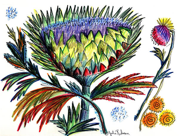 Flowers Art Print featuring the painting A Thistle by Julie Richman