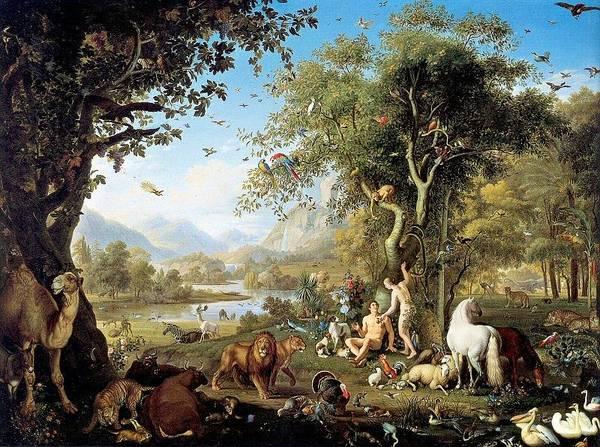 Adam And Eve In The Garden Of Eden Art Print by Wenzel Peter