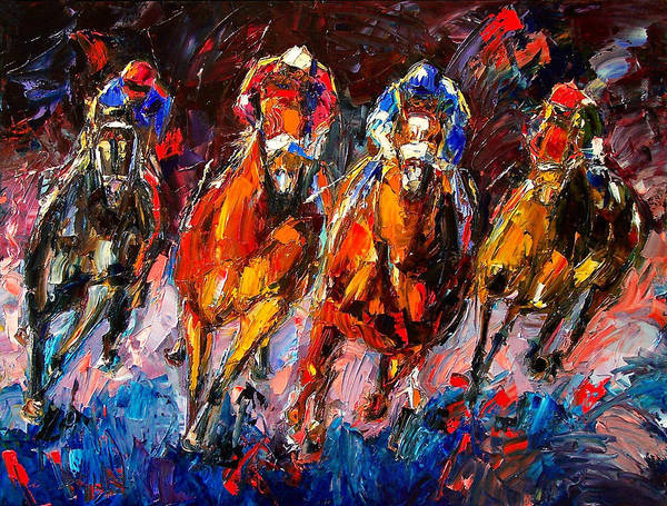 Horse Race Art Print featuring the painting Adrenaline by Debra Hurd