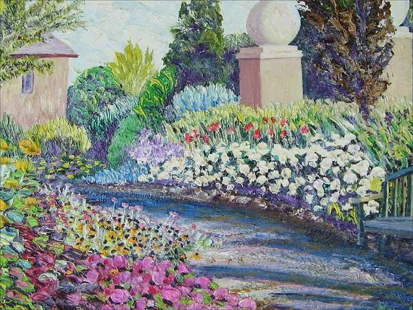 Flowers Art Print featuring the painting Amelia Park Pathway by Richard Nowak