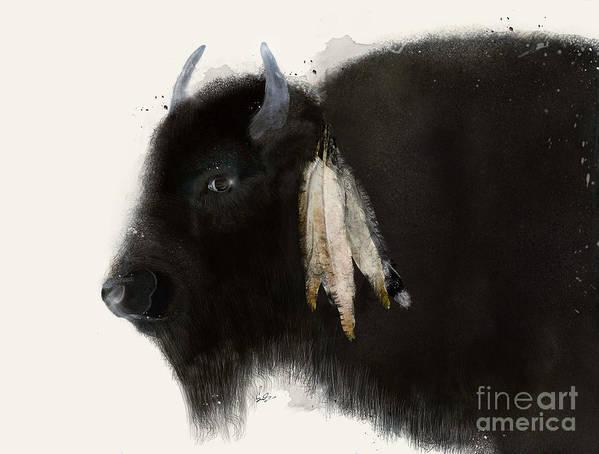 Buffalo Art Print featuring the painting American Buffalo by Bri Buckley