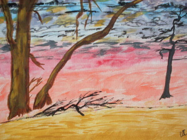 Landscape Art Print featuring the painting Angry Sky by Warren Thompson