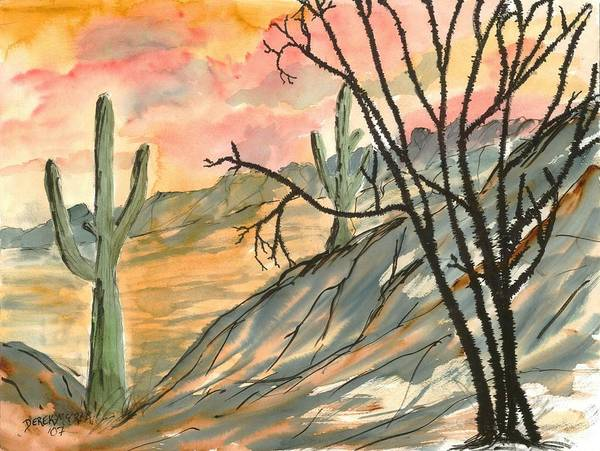 Drawing Art Print featuring the painting Arizona Evening Southwestern landscape painting poster print by Derek Mccrea