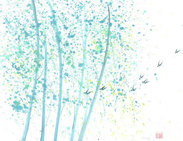 Birds Flying Through An Aspen Forest. This Is A Contemporary Chinese Ink And Color On Rice Paper Painting With Simple Zen Style Brush Strokes. Art Print featuring the painting Aspen Forest by Mui-Joo Wee