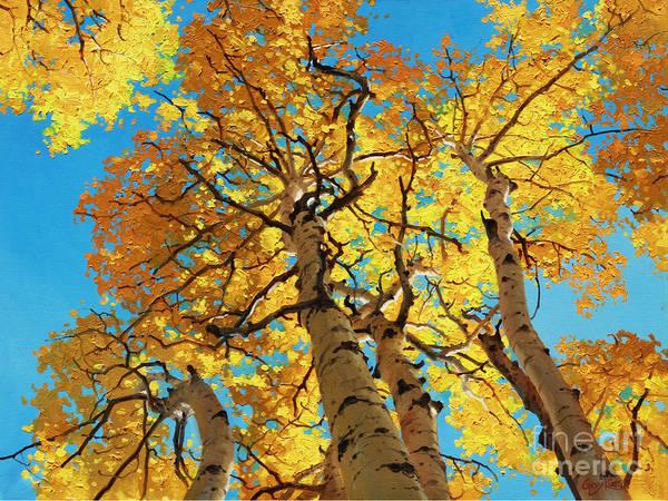 Aspen Trees Art Print featuring the painting Aspen Sky High 2 by Gary Kim
