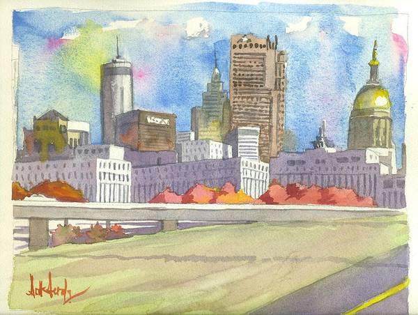 Atlanta Art Print featuring the painting Atlanta Skyline Color by Scott Serafy