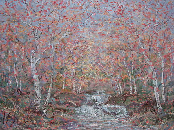 Landscape Art Print featuring the painting Autumn Birch Trees. by Leonard Holland