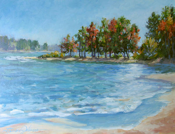 North Carolina Lake Art Print featuring the painting Autumn Shores - Jordan Lake by L Diane Johnson