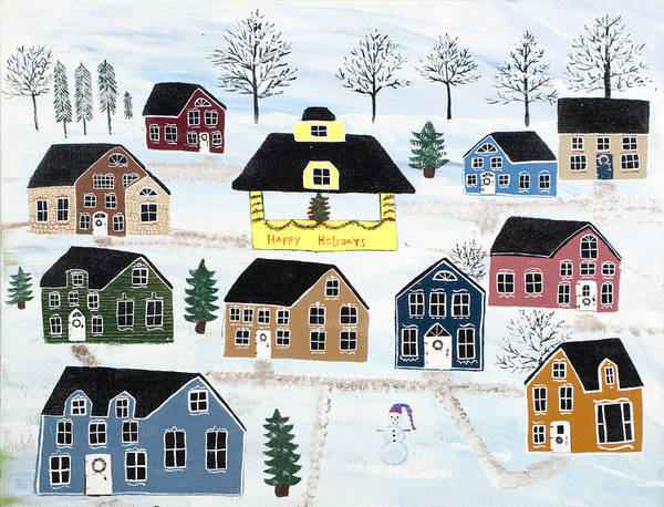 Christmas Art Print featuring the painting Awaiting Christmas in Glennawexton Park by Mike Filippello