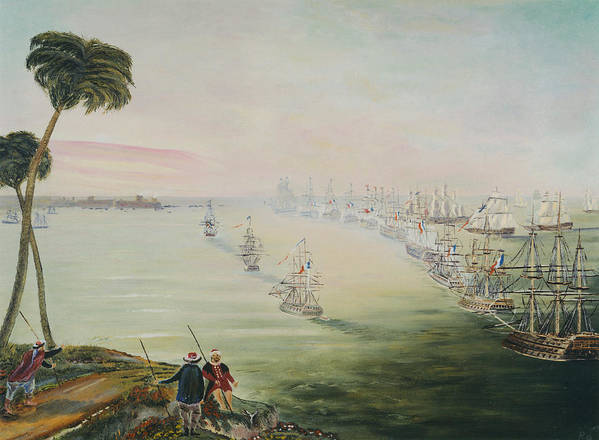 Sea Battle Art Print featuring the painting Battle Of The Nile by Richard Barham