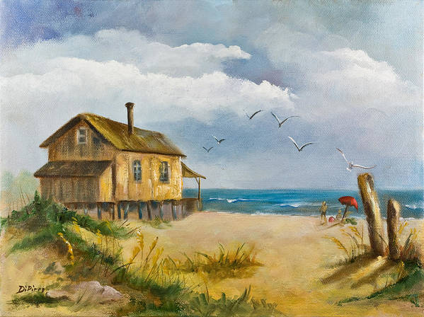 Beach Art Print featuring the painting Beach Getaway by Joni Dipirro