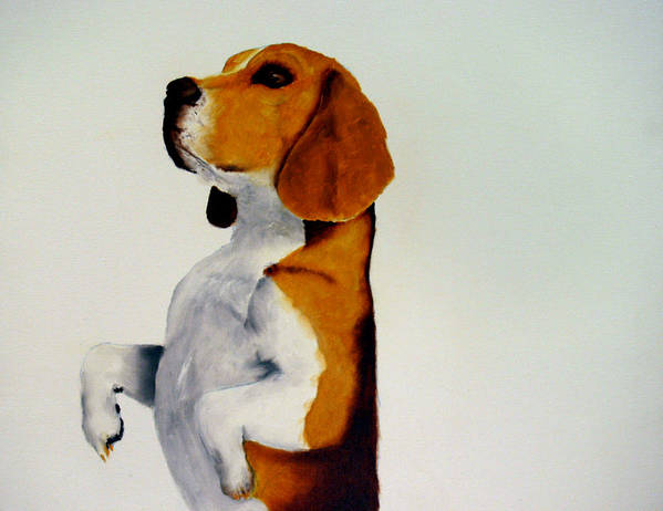 Beagle Art Print featuring the painting Beagle by Dick Larsen