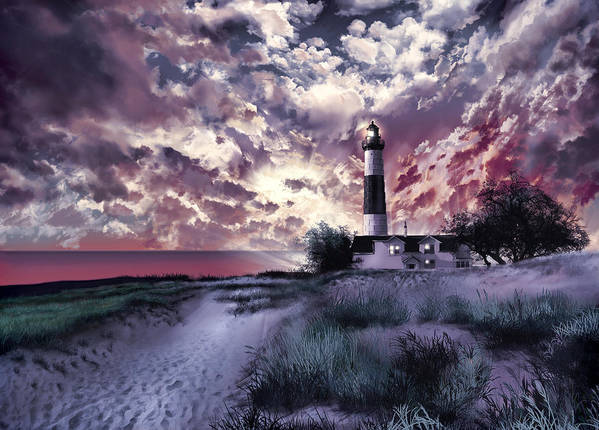 Lighthouse Art Print featuring the painting Big Sable Lighthouse 2 by Bekim M