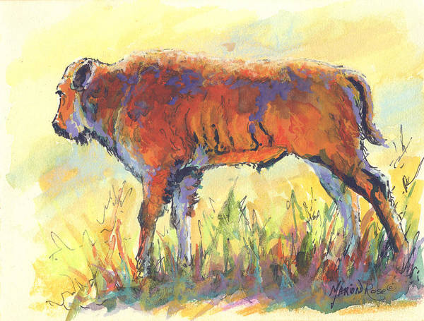 Bison Art Print featuring the painting Bison Calf by Marion Rose