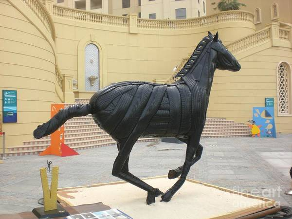Horse Art Print featuring the sculpture Black Stalion Tyre Sculpture by Mo Siakkou-Flodin