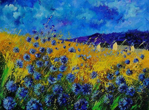 Poppies Art Print featuring the painting Blue cornflowers by Pol Ledent