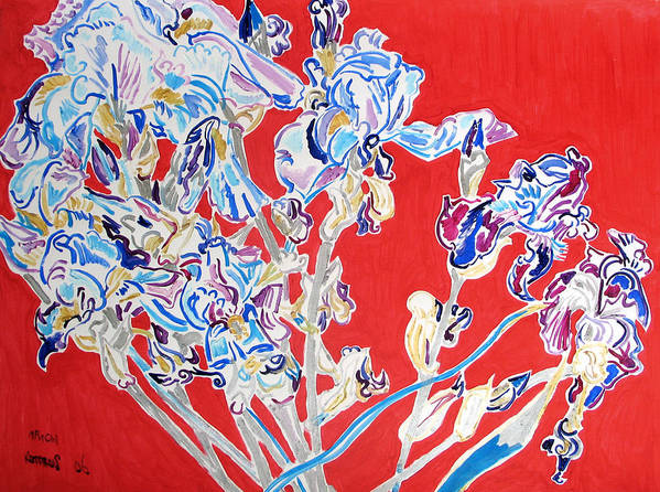 Irises Art Print featuring the painting Blue irises in the pink background by Vitali Komarov