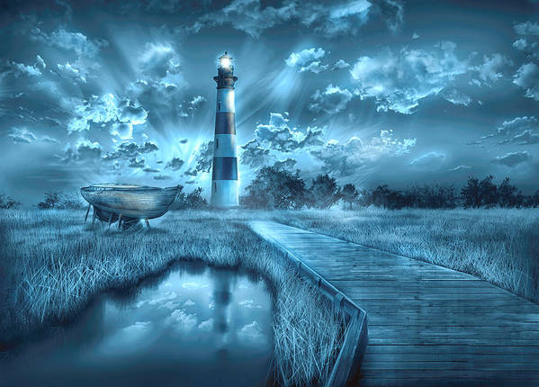 Lighthouse Art Print featuring the painting Bodie Island Lighthouse 2 by Bekim M
