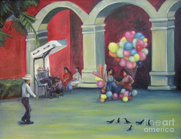 Mexico Art Print featuring the painting Boleo en la Plaza by Lilibeth Andre