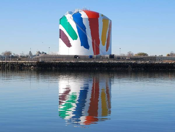 Boston Gas Tank and Reflection by Bill Driscoll