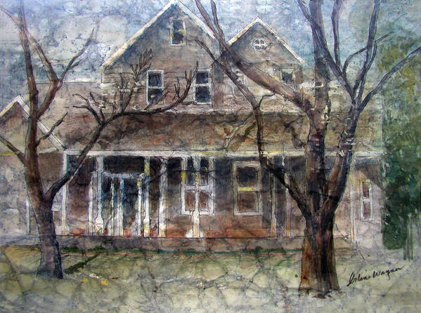 House Art Print featuring the mixed media Brown Batik House by Suzanne Blender