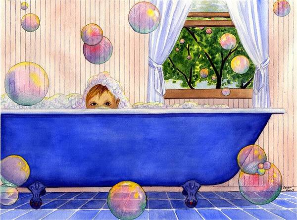 Bath Art Print featuring the painting Bubbles by Catherine G McElroy