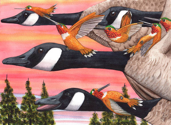 Geese Art Print featuring the painting Bumming a ride by Catherine G McElroy